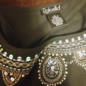 Rafaella Adorned Long Sleeve Black Top L